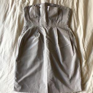 Jcrew gray ruffle strapless dress size 0